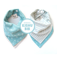 turquoise nautical bandana bib one size reversible