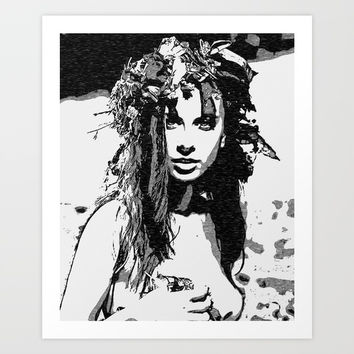 Water Nymph - sexy girl conte, beautiful brunette topless, hot girl nude outdoors, sensual erotic Art Print by Casemiro Arts - Peter Reiss