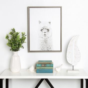 DesignOvation Sylvie Hairy Alpaca Black and White Portrait Canvas Wall Art by Simon Te Tai - Wall Art at Hayneedle