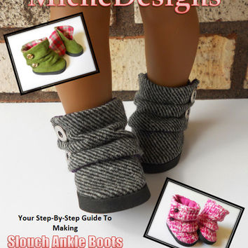 18 inch Doll Shoe Pattern Slouch Ankle Boots for American Girl D 31cb102bd208