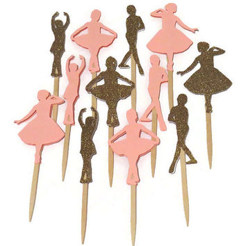 ballerina cupcake toppers, little ballet dancers, princess party decorations, pink and gold, glitter, girls, set of 12