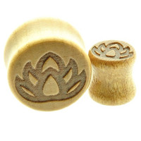 """Wooden Ear Plug with Lotus Flower Design Sold As a Pair -00 Gauge -1/2"""" - 9/16"""" - 5/8"""" - 11/16"""""""