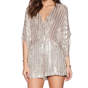 Parker Kimora Sequin Jumper in Metallic Silver