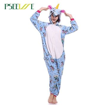 27 Styles Animal Pajamas Flannel Winter Women Men Unicorn Stitch Panda Pikachu Onesuit Sleep lounge Sleepwear Cosplay Costume