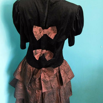 1980's Gothic Lolita Velvet Prom Dress by Impromptu Evening Party Bow Edwardian Victorian Goth Iridescent