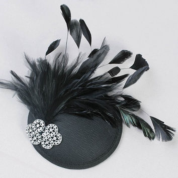 Black hat , black wedding hat , black bridal fascinator , handmade fascinator , kentucky derby fascinator , feather fascinator, great gatsby