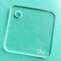 "Acrylic Stamp Block for Planners 2""x 2"" with corner hole 