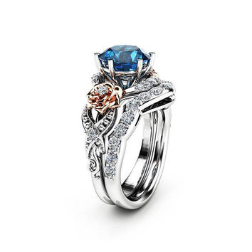 Special Reserved - Blue Topaz Engagement Ring 14K Two Tone Gold Topaz - NO MATCHING BAND