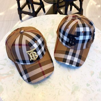 """Burberry"" Unisex Retro Tartan Letter Logo Print Bucket Embroidery Peaked Cap Couple Casual Sun Hat"