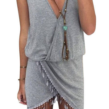 Grey V Neck Sleeveless Tassel Wrap Dress