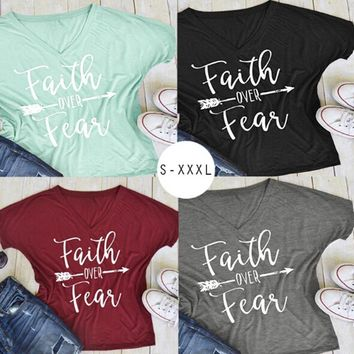 2017 Summer Women Fashion Casual Letters Printed T-Shirt Short Sleeves Faith Over Fear Arrow Tee Tops