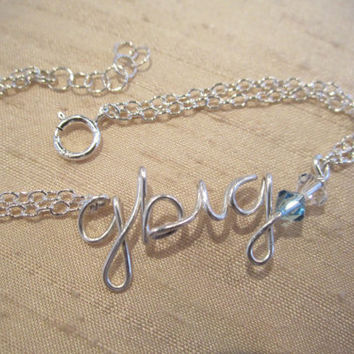 "Sterling silver sorority Personalized ""gbig"" bracelet...handmade wire name, word, sisters jewelry, birthday, college jewelry"