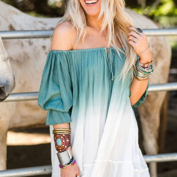 Ombre Ruffle Tunic in Teal