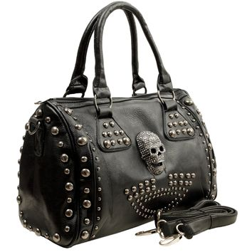 MG Collection HOWEA Trendy 3D Devil Skull Gothic Studded Doctor Style Handbag