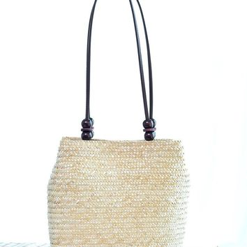 New Hot Summer Beach Bag Women Straw With Wooden Beading Handbag Shoulder Bag For Girls Travel Bohemian Bolsas