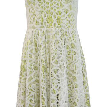 Guess Sasah Green Strapless Overlay Lace Dress - Size 10