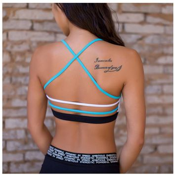 Lightweight Wireless Contrast Blue White Strappy Back Sports bra For Small Chest Low Support