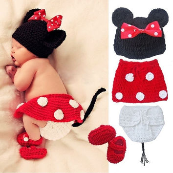 Crochet Newborn Baby Costume Infant Knit Minnie Mouse Outfits Photo Props = 1947001540