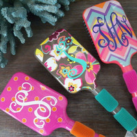 Monogrammed Paddle Hair Brush in Chevron Dots or Floral
