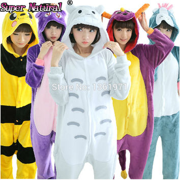Flannel Kigurums Giraffe Pikachu Unicorn Stitch Tigger Kitty Diana Bird Cow Cat Rilakkuma Bear Animal Pajamas Onesuit Costume