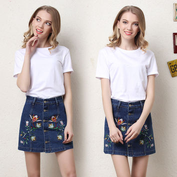 Denim Vintage Embroidery Patchwork Dress Skirt [11405252687]