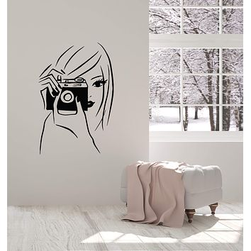 Vinyl Wall Decal Girl with Camera Photo Art Room Decor Home interior Stickers Mural (ig5509)