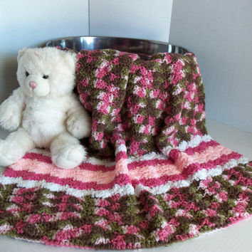 Pink Camo Baby / Toddler Afghan by SnugableTouches on Etsy