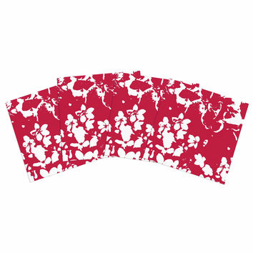 "Love Midge ""Helena Floral Magenta"" Red White Indoor/Outdoor Place Mat (Set of 4)"