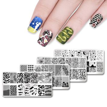 UR SUGAR Rectangle Stamping Template Rose Flower Butterfly Stars Manicure Nail Art DIY Template Image Plate Stencil Nails Tool