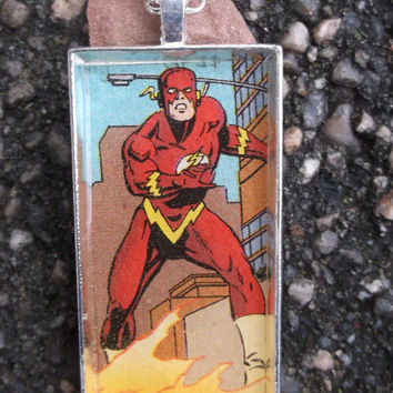 Flash  Necklace,Flash jewelry,Flash pendant,Comic book jewelry,comic book necklace,Justice league