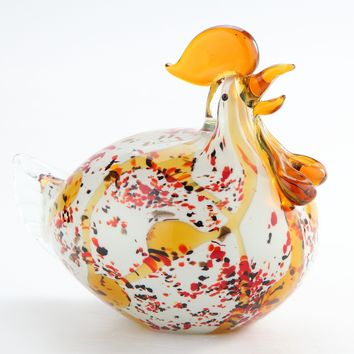 Farm Chicken / Hen Glass Hand-Blown Sculpture