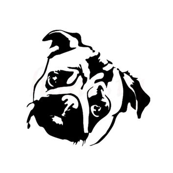 Cute Pug Dog Animal Car Sticker Wall Home Glass Window Door Laptop Auto Truck Motorcycle Black Vinyl Decor Decal 12.1cmX11.5cm