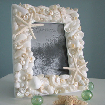 Seashell Frames for Beach Decor  -  Nautical Beach Wedding White Shell Frame - 8x10