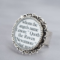 Nevermore Literary Ring – Edgar Allan Poe – The Raven – Poetry – Gothic Jewelry –  Literature Quote: Quoth the Raven, Nevermore