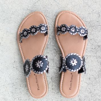 Two Strap Preppy Sandal – Black + Pewter Combo