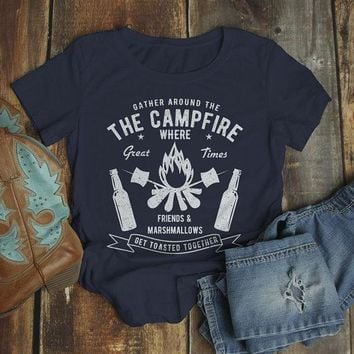 Women's Funny Campfire T Shirt Gather Around Graphic Tee Marshmallows Friends Get Toasted Beer Shirts