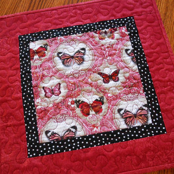 Butterfly Table Topper in Red Black and White, Valentine's Day Decor, Quilted Square Table Topper, Vintage Look, Cottage Shabby Chic