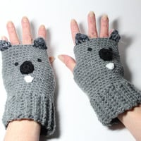 Koala Fingerless Gloves, Crochet Animal Mitts, Gray Fingerless Mittens, Winter Hand Warmers