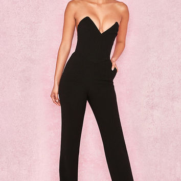 Clothing : Jumpsuits : 'Lucille' Black Crepe Boned Strapless Jumpsuit