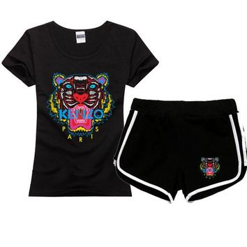 KENZO Women Men Fashion Print Cotton Sport Shirt Shorts Set Two-Piece Sportswear
