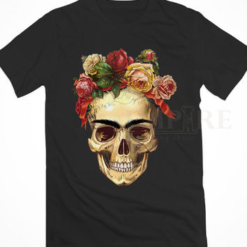 Frida Kahlo Skull Roses Unisex/Men Tshirt All Size