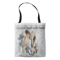 Love, live, laugh at the beach tote bag