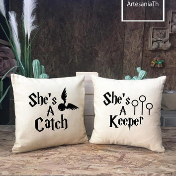 She's A Keeper/She's A Catch Pillow cover Set, Harry Potter Pillows, Cushion cover, couple Gifts, Lesbian Gifts, Valentine's Day Gift