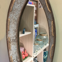 Galvanized Vintage Metal Boat Shaped Wall Mirror with Jute Rope Accents 24-1/4-in