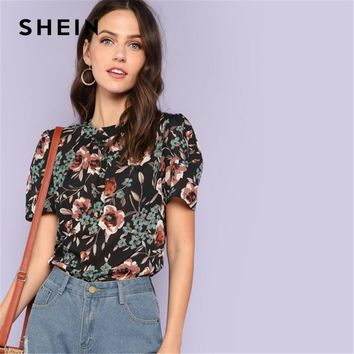 SHEIN Multicolor Weekend Casual Pleated Puff Sleeve Gathered Neck Botanical Stand Collar Blouse Summer Women Going Out Shirt Top