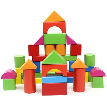 40 Pieces classical colorful wood building blocks child educational toys kids wooden bricks toy Basic stacking toys WJM001