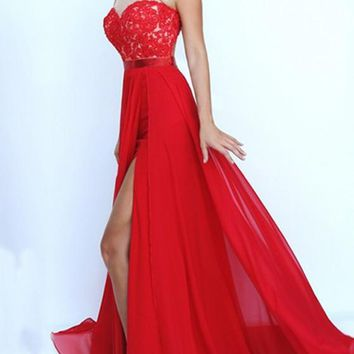 Red Patchwork Lace Irregular Slit Halter Neck Banquet Homecoming Maxi Dress