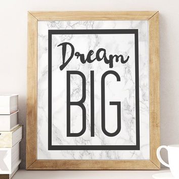 Dream big, marble art print, black and grey wall art, home decor wall art, marble background, bedroom decor ideas.