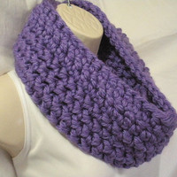 Lilac Purple Cowl Infinity Circle Scarf Neckwarmer Extra Thick Extra Bulky