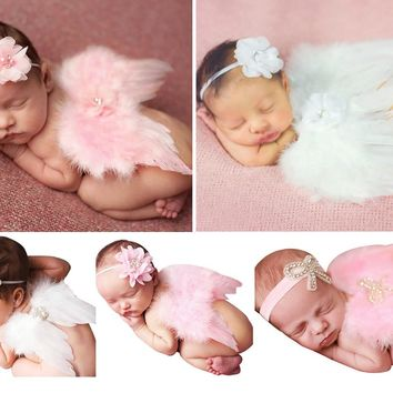 2017 New Arrivals Baby Bebe Girl Clothes Newborn Infant Headband+Feather Wing Clothing Set Headbands+Hot Wings Photography Props